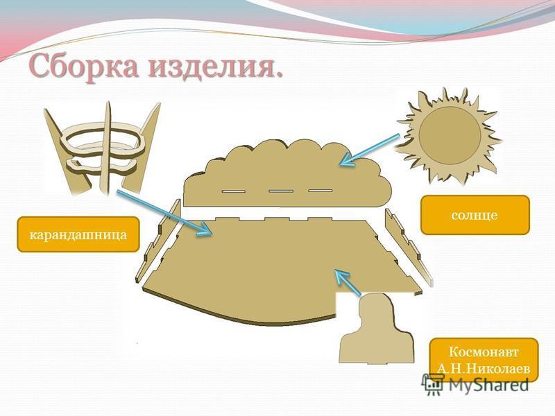 Сборка изделия. Космонавт А.Н.Николаев карандашница солнце