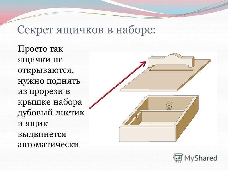 Секрет ящичков в наборе: Просто так ящички не открываются, нужно поднять из прорези в крышке набора дубовый листик и ящик выдвинется автоматически.