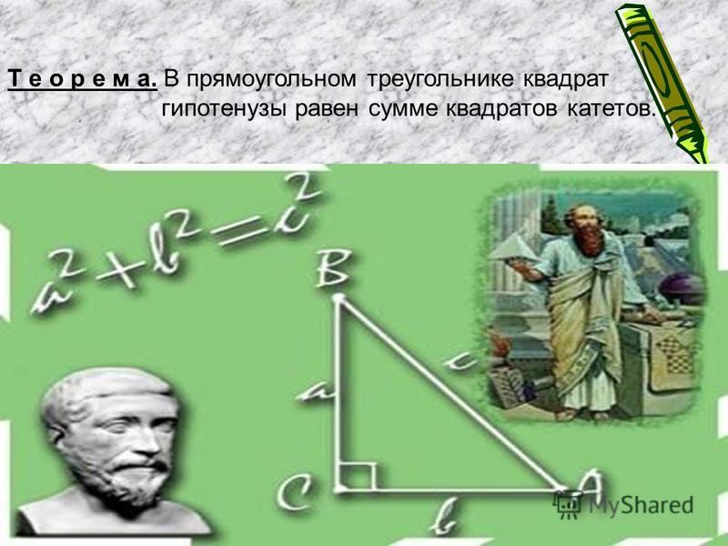Т е о р е м а. В прямоугольном треугольнике квадрат гипотенузы равен сумме квадратов катетов.