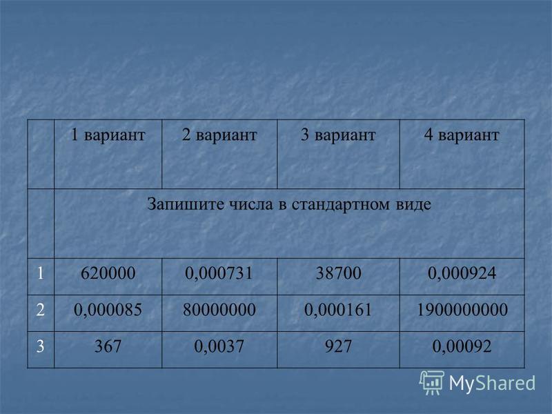 1 вариант 2 вариант 3 вариант 4 вариант Запишите числа в стандартном виде 16200000,000731387000,000924 20,000085800000000,0001611900000000 33670,00379270,00092
