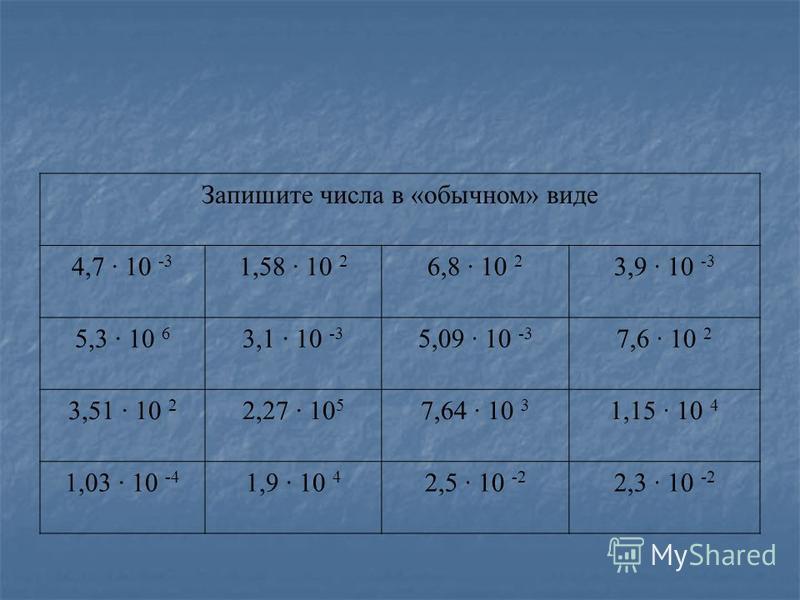 Запишите числа в «обычном» виде 4,7 · 10 -3 1,58 · 10 2 6,8 · 10 2 3,9 · 10 -3 5,3 · 10 6 3,1 · 10 -3 5,09 · 10 -3 7,6 · 10 2 3,51 · 10 2 2,27 · 10 5 7,64 · 10 3 1,15 · 10 4 1,03 · 10 -4 1,9 · 10 4 2,5 · 10 -2 2,3 · 10 -2