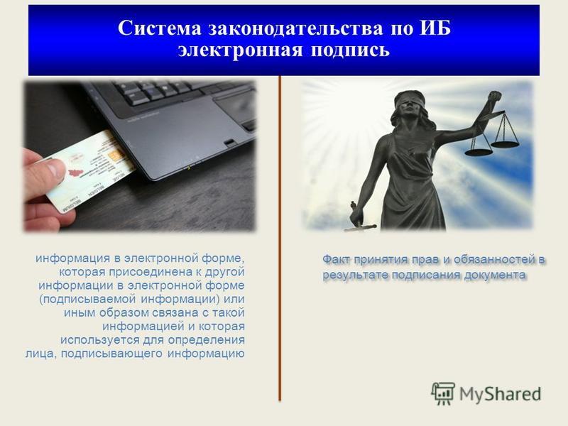 информмация в электронной форме, которая присоединена к другой информмации в электронной форме (подписываемой информмации) или иным образом связана с такой информмацией и которая используется для определения лица, подписывающего информмацию Факт прин