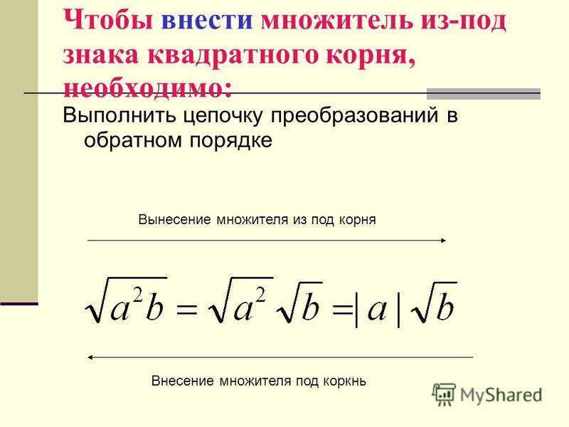 Чтобы внести множитель из-под знака квадратного корня, необходимо: Выполнить цепочку преобразований в обратном порядке Внесение множителя под корень Вынесение множителя из под корня