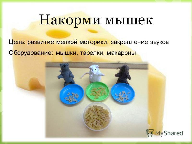Накорми мышек Цель: развитие мелкой моторики, закрепление звуков Оборудование: мышки, тарелки, макароны