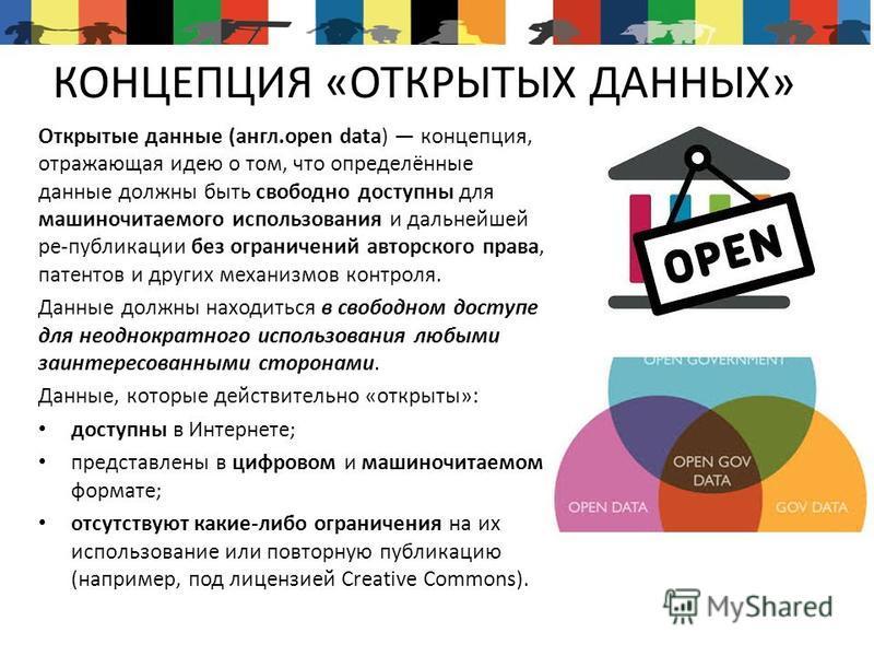 КОНЦЕПЦИЯ «ОТКРЫТЫХ ДАННЫХ» Открытые данные (англ.open data) концепция, отражающая идею о том, что определённые данные должны быть свободно доступны для машиночитаемого использования и дальнейшей ре-публикации без ограничений авторского права, патент