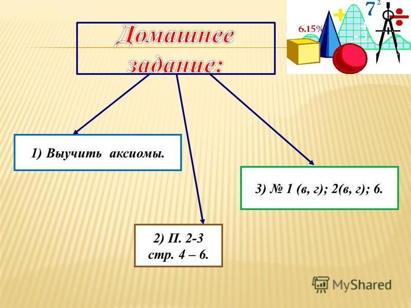 1)Выучить аксиомы. 2) П. 2-3 стр. 4 – 6. 3) 1 (в, г); 2(в, г); 6.