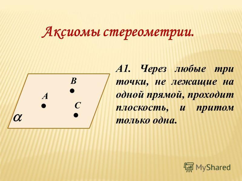 Аксиомы стереометрии. А1. Через любые три точки, не лежащие на одной прямой, проходит плоскость, и притом только одна. А В С