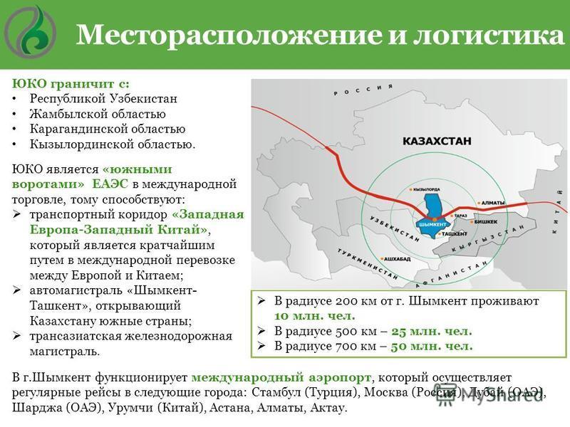 В радиусе 200 км от г. Шымкент проживают 10 млн. чел. В радиусе 500 км – 25 млн. чел. В радиусе 700 км – 50 млн. чел. ЮКО граничит с: Республикой Узбекистан Жамбылской областью Карагандинской областью Кызылординской областью. ЮКО является «южными вор