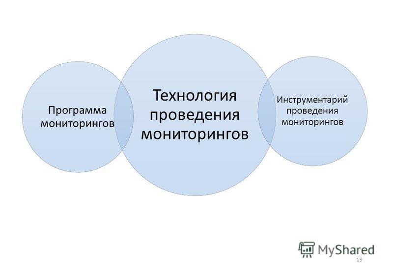 19 Технология проведения мониторингов Программа мониторингов Инструментарий проведения мониторингов