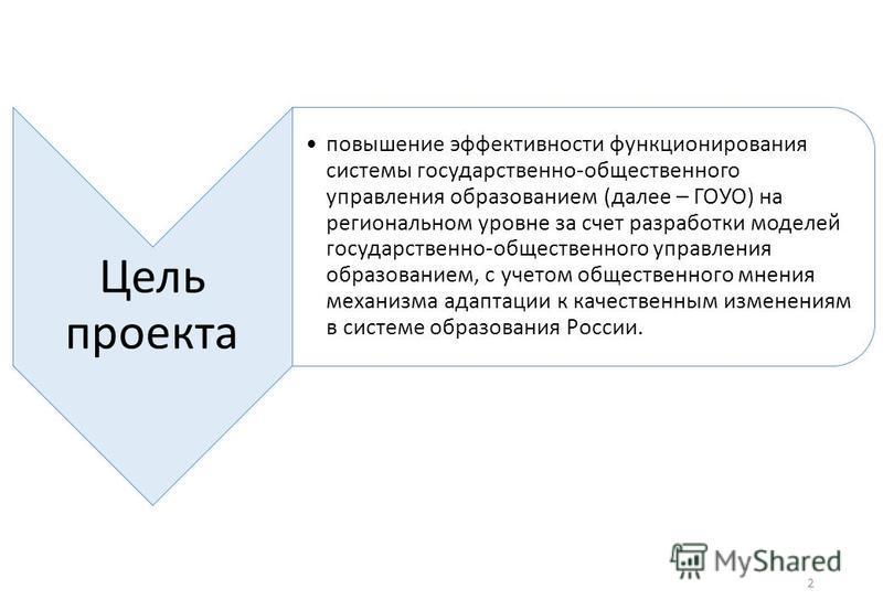 Цель проекта повышение эффективности функционирования системы государственно-общественного управления образованием (далее – ГОУО) на региональном уровне за счет разработки моделей государственно-общественного управления образованием, с учетом обществ