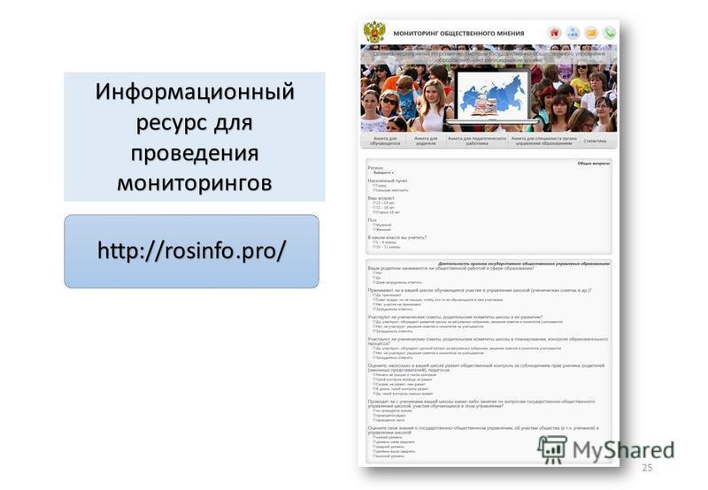 25 Информационный ресурс для проведения мониторингов http://rosinfo.pro/