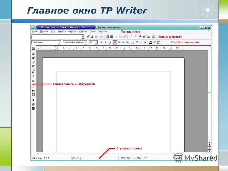 Главное окно ТР Writer