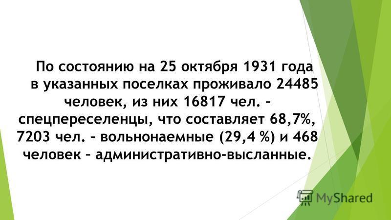 По состоянию на 25 октября 1931 года в указанных поселках проживало 24485 человек, из них 16817 чел. – спецпереселенцы, что составляет 68,7%, 7203 чел. – вольнонаемные (29,4 %) и 468 человек – административно-высланные.