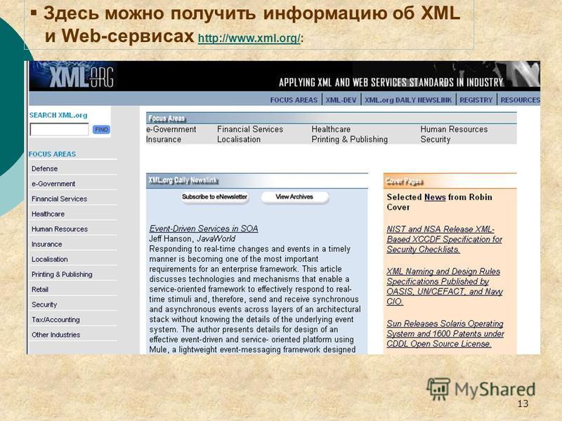 13 Здесь можно получить информацию об XML и Web-сервисах http://www.xml.org/: http://www.xml.org/