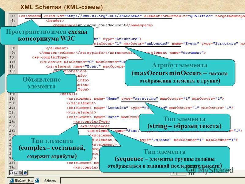 7 Пространство имен схемы консорциума W3C Объявление элемента Тип элемента (string – образец текста) Тип элемента (sequence – элементы группы должны отображаться в заданной последовательности ) Тип элемента (complex – составной, содержит атрибуты ) А