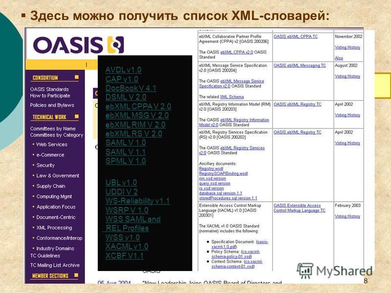 8 Здесь можно получить список XML-словарей: Организация по продвижению стандартов структурированной информации OASIS - News - Oasis News OASIS - News - Oasis News AVDL v1.0 CAP v1.0 DocBook V 4.1 DSML V 2.0 ebXML CPPA V 2.0 ebXML MSG V 2.0 ebXML RIM