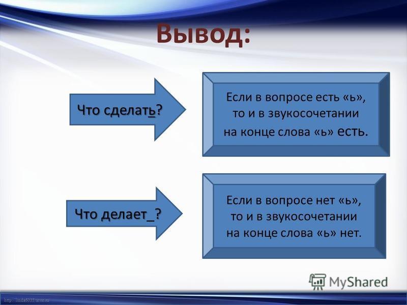 http://linda6035.ucoz.ru/ Вывод: Если в вопросе есть «ь», то и в звукосочетании на конце слова «ь» есть. Что сделать? Что делает? Что делает_? Если в вопросе нет «ь», то и в звукосочетании на конце слова «ь» нет. Если в вопросе есть «ь», то и в звуко