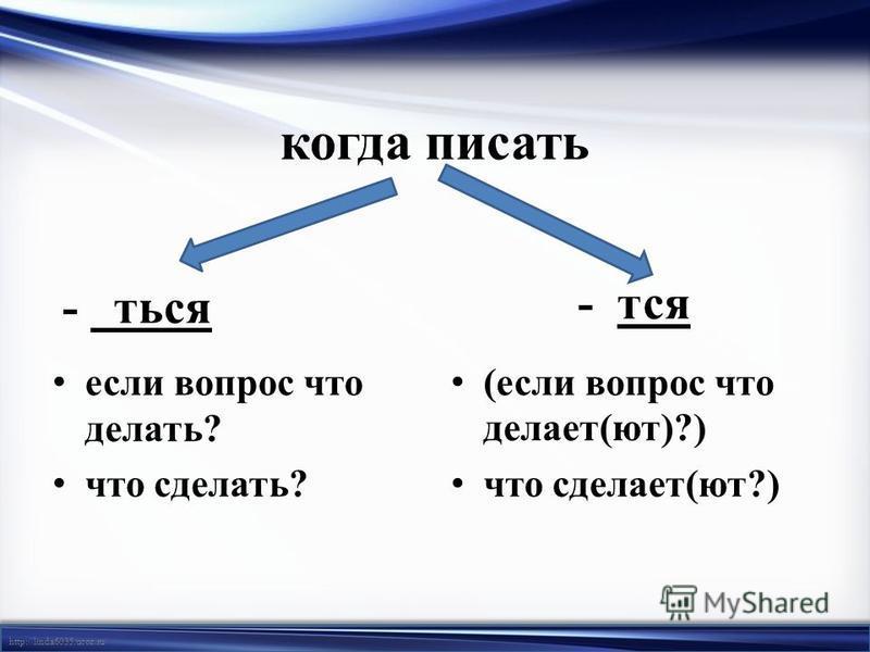 http://linda6035.ucoz.ru/ когда писать - ться если вопрос что делать? что сделать? - тся (если вопрос что делает(ют)?) что сделает(ют?)