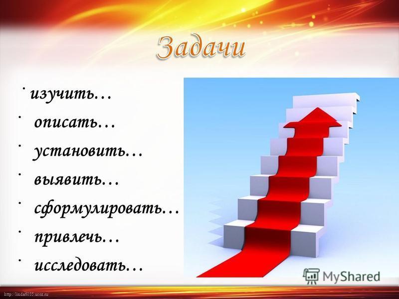 http://linda6035.ucoz.ru/ · изучить… · описать… · установить… · выявить… · сформулировать… · привлечь… · исследовать…