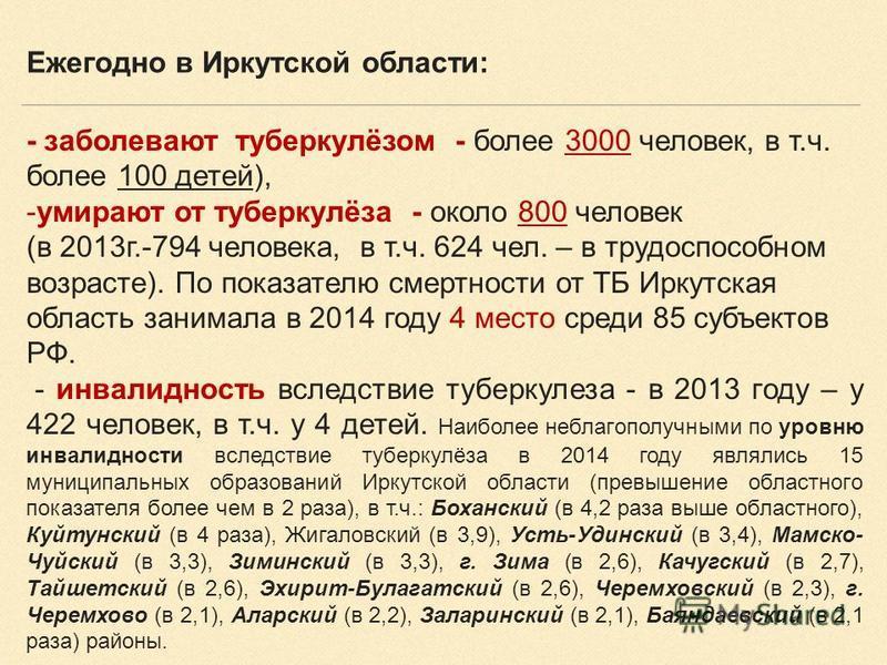 - заболевают туберкулёзом - более 3000 человек, в т.ч. более 100 детей), -умирают от туберкулёза - около 800 человек (в 2013 г.-794 человека, в т.ч. 624 чел. – в трудоспособном возрасте). По показателю смертности от ТБ Иркутская область занимала в 20