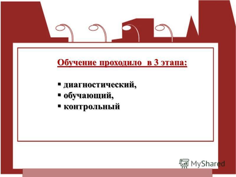 Обучение проходило в 3 этапа: диагностический, диагностический, обучающий, обучающий, контрольный контрольный
