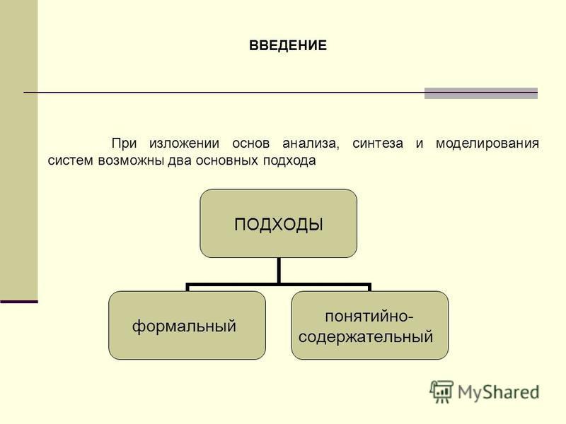 При изложении основ анализа, синтеза и моделирования систем возможны два основных подхода ВВЕДЕНИЕ ПОДХОДЫ формальный понятийно- содержательный