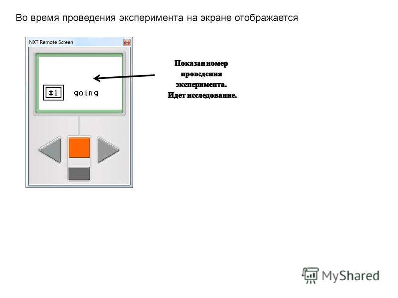 Во время проведения эксперимента на экране отображается