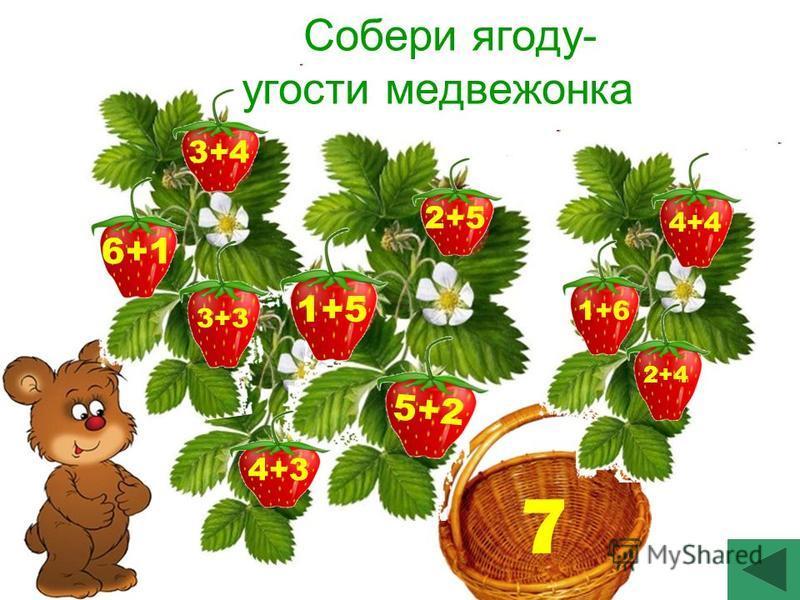 7 Собери ягоду- угости медвежонка 3+4 1+6 6+1 3+3 2+4 4+4 5+2 2+5 1+5 4+3