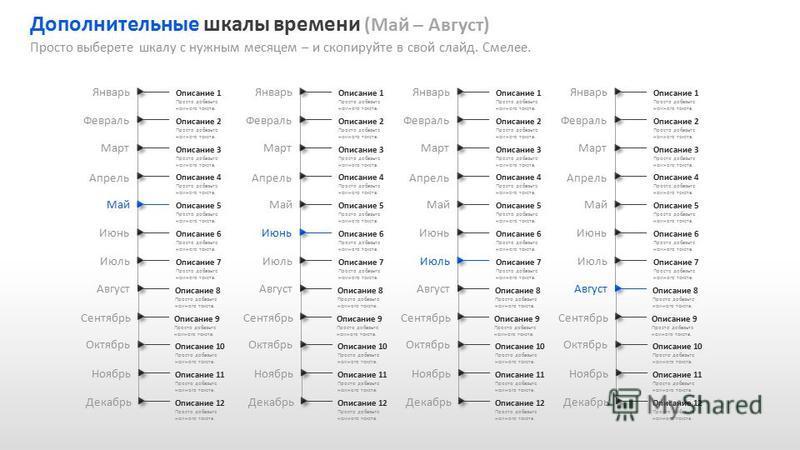 Slide GO.ru Дополнительные шкалы времени (Май – Август) Просто выберете шкалу с нужным месяцем – и скопируйте в свой слайд. Смелее. Сентябрь Январь Февраль Март Апрель Май Июнь Июль Август Октябрь Ноябрь Декабрь Описание 1 Просто добавьте немного тек