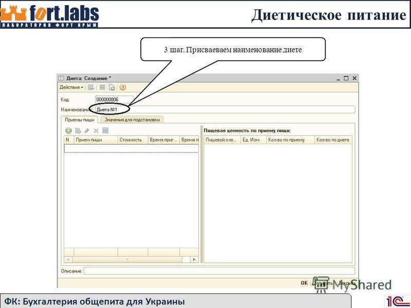 Диетическое питание ФК: Бухгалтерия общепита для Украины 3 шаг. Присваеваем наименование диете