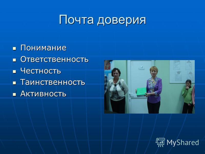 Почта доверия Понимание Понимание Ответственность Ответственность Честность Честность Таинственность Таинственность Активность Активность
