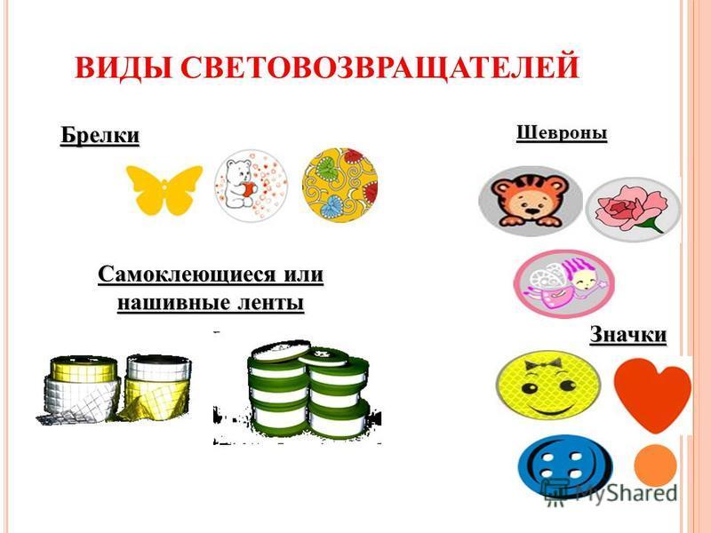 ВИДЫ СВЕТОВОЗВРАЩАТЕЛЕЙ Брелки Значки Шевроны Самоклеющиеся или нашивные ленты