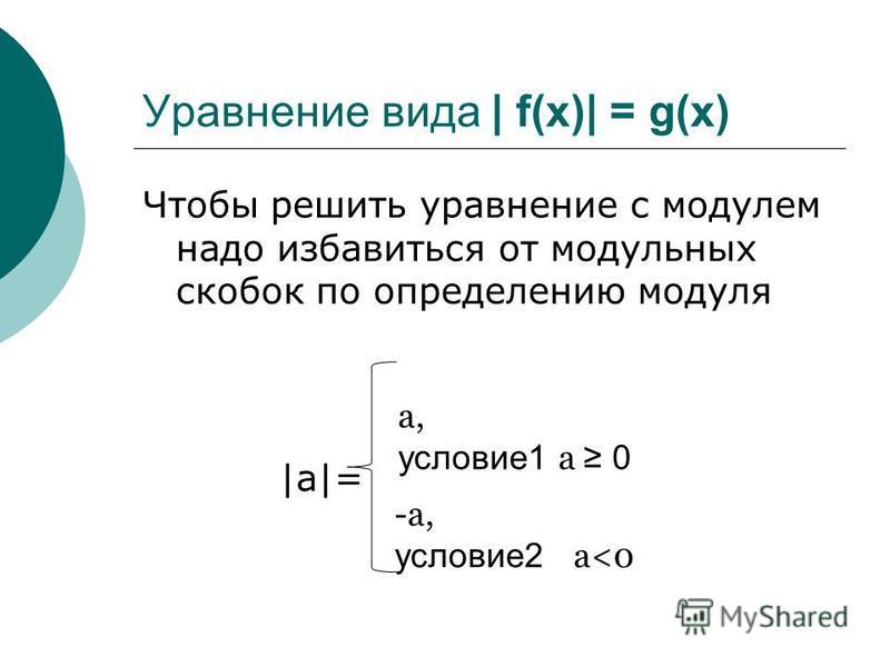 Уравнение вида | f(x)| = g(x) Чтобы решить уравнение с модулем надо избавиться от модульных скобок по определению модуля |a|=|a|= a, условие 1 a 0 -a, условие 2 a<0
