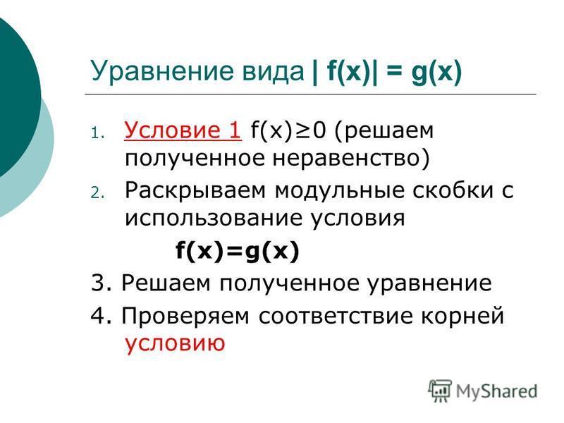 1. Условие 1 f(х)0 (решаем полученное неравенство) 2. Раскрываем модульные скобки с использование условия f(x)=g(x) 3. Решаем полученное уравнение 4. Проверяем соответствие корней условию Уравнение вида | f(x)| = g(x)