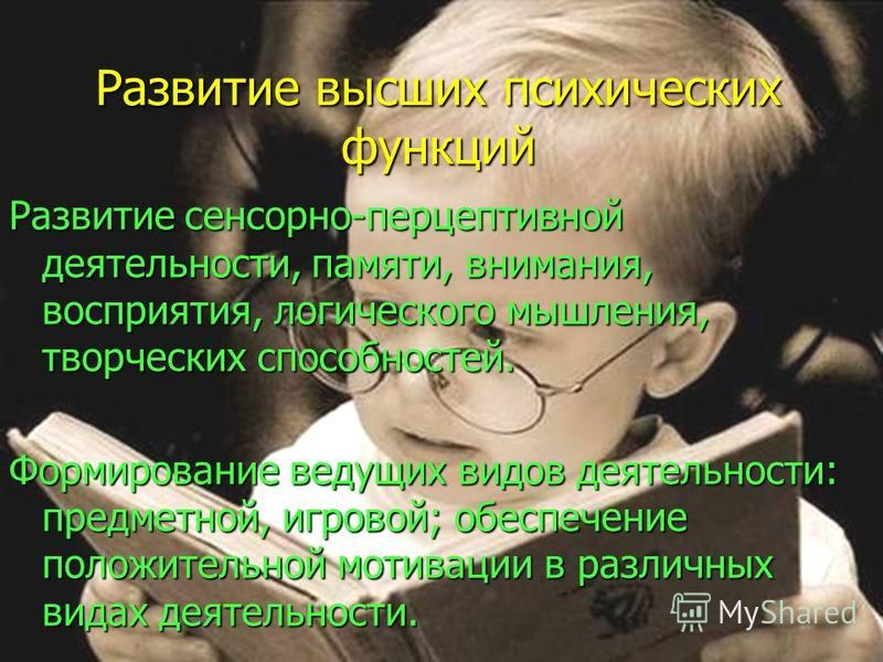Развитие высших психических функций Развитие сенсорно-перцептивной деятельности, памяти, внимания, восприятия, логического мышления, творческих способностей. Формирование ведущих видов деятельности: предметной, игровой; обеспечение положительной моти
