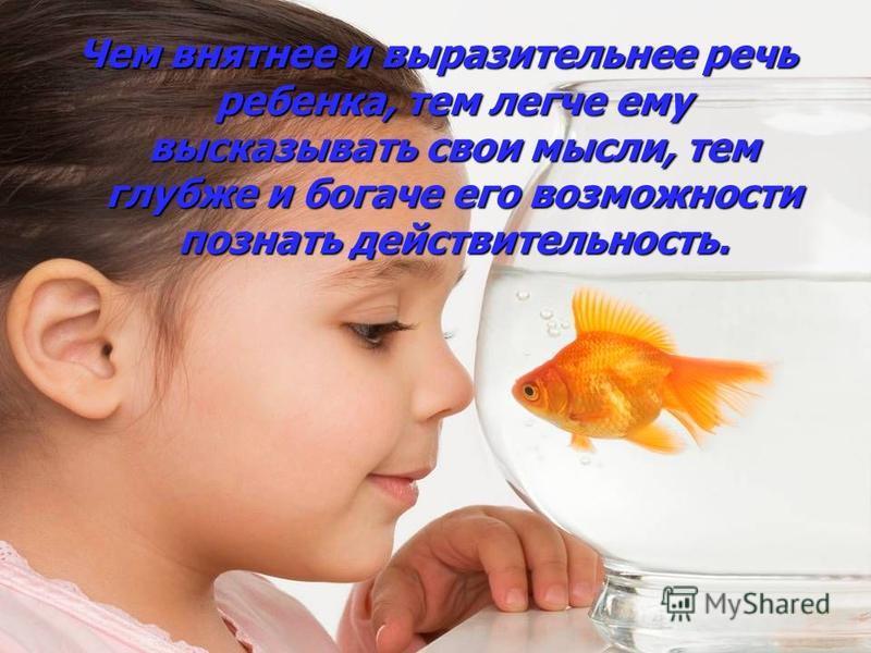 Чем внятнее и выразительнее речь ребенка, тем легче ему высказывать свои мысли, тем глубже и богаче его возможности познать действительность.