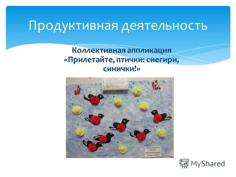 Продуктивная деятельность Коллективная аппликация «Прилетайте, птички: снегири, синички!»
