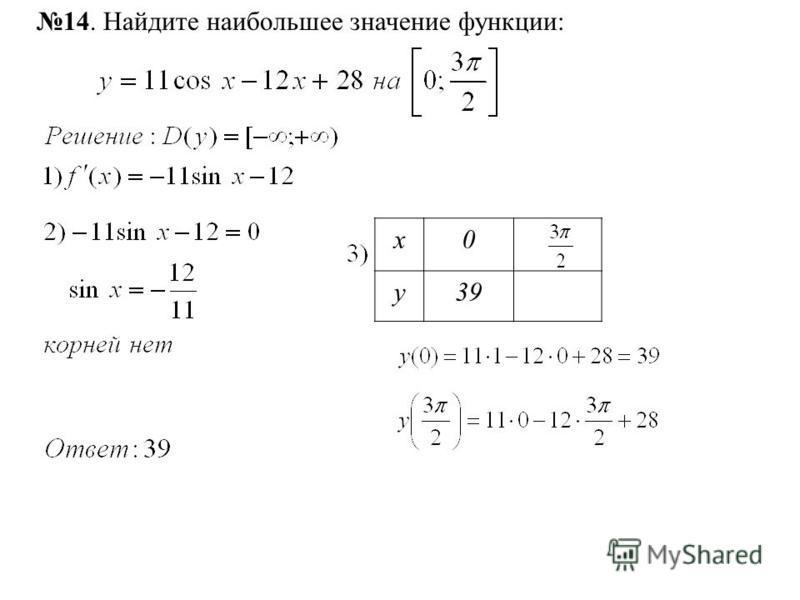 14. Найдите наибольшее значение функции: х 0 у 39