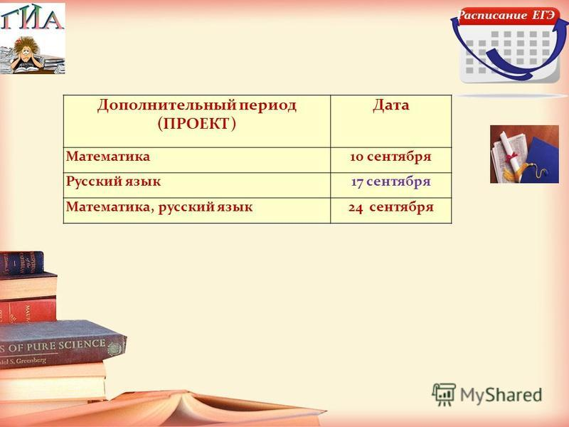 Расписание ЕГЭ Дополнительный период (ПРОЕКТ) Дата Математика 10 сентября Русский язык 17 сентября Математика, русский язык 24 сентября