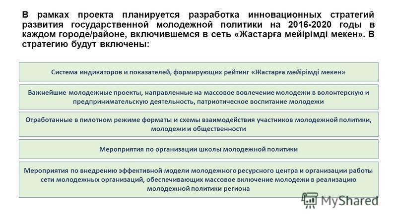 В рамках проекта планируется разработка инновационных стратегий развития государственной молодежной политики на 2016-2020 годы в каждом городе/районе, включившемся в сеть «Жастарға мейірімді микен». В стратегию будут включены: Система индикаторов и п