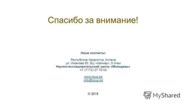 Спасибо за внимание! Наши контакты: Республика Казахстна, Астана ул. Иманова 50, БЦ «Кайнар», 5 этаж Научно-исследовательский центр «Молодежь» +7 (7172) 27 70 43 www.ncyp.kz info@ncyp.kz © 2015