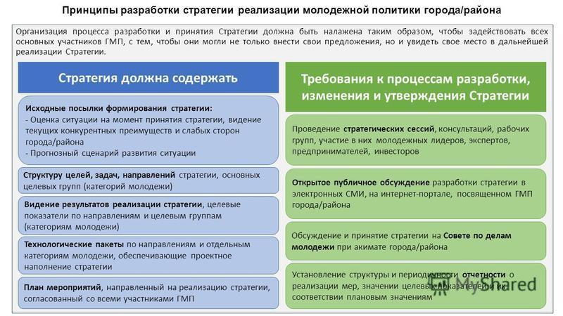 Организация процесса разработки и принятия Стратегии должна быть налажена таким образом, чтобы задействовать всех основных участников ГМП, с тем, чтобы они могли не только внести свои предложения, но и увидеть свое место в дальнейшей реализации Страт