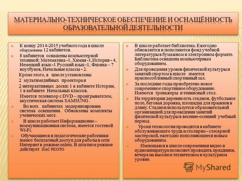 К концу 2014-2015 учебного года в школе оборудованы 12 кабинетов. К концу 2014-2015 учебного года в школе оборудованы 12 кабинетов. 8 кабинетов оснащены компьютерной техникой: Математика -1, Химия -1,История - 4, Немецкий язык -1 Русский язык -1, Физ
