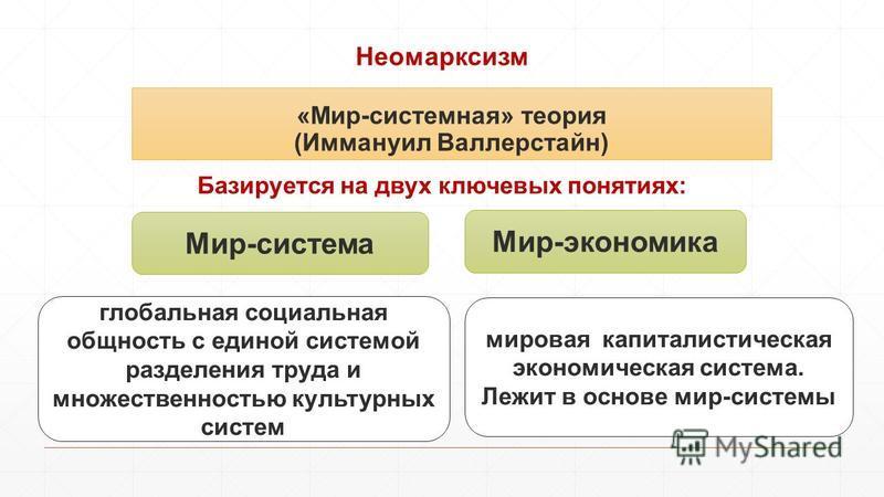 Неомарксизм Базируется на двух ключевых понятиях: «Мир-системная» теория (Иммануил Валлерстайн) Мир-система Мир-экономика мировая капиталистическая экономическая система. Лежит в основе мир-системы глобальная социальная общность с единой системой раз