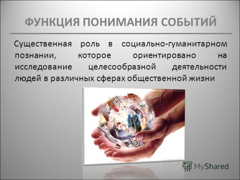 ФУНКЦИЯ ПОНИМАНИЯ СОБЫТИЙ Существенная роль в социально-гуманитарном познании, которое ориентировано на исследование целесообразной деятельности людей в различных сферах общественной жизни