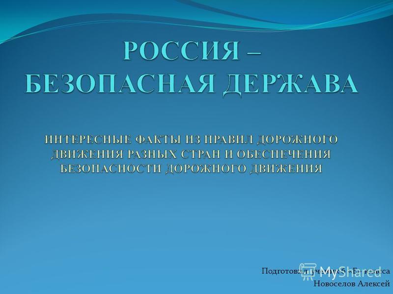 Подготовил ученик 6 «Е» класса Новоселов Алексей