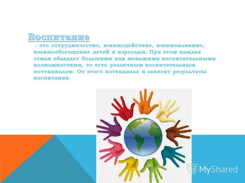 Воспитание Воспитание - это сотрудничество, взаимодействие, взаимовлияние, взаимообогащение детей и взрослых. При этом каждая семья обладает большими или меньшими воспитательными возможностями, то есть различным воспитательным потенциалом. От этого п