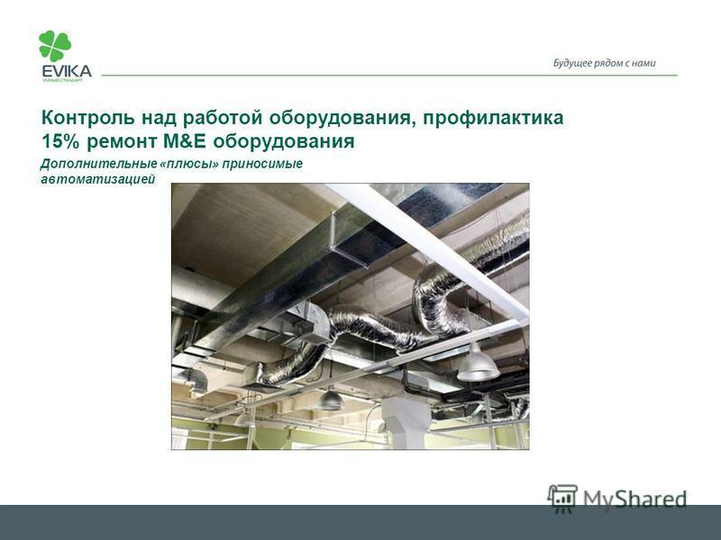 Контроль над работой оборудования, профилактика 15% ремонт M&E оборудования Дополнительные «плюсы» приносимые автоматизацией