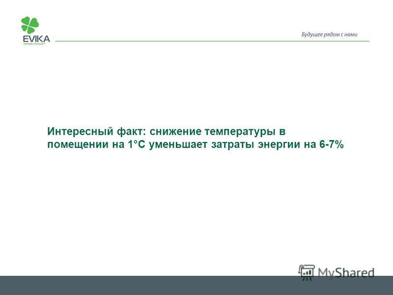 Интересный факт: снижение температуры в помещении на 1°C уменьшает затраты энергии на 6-7%