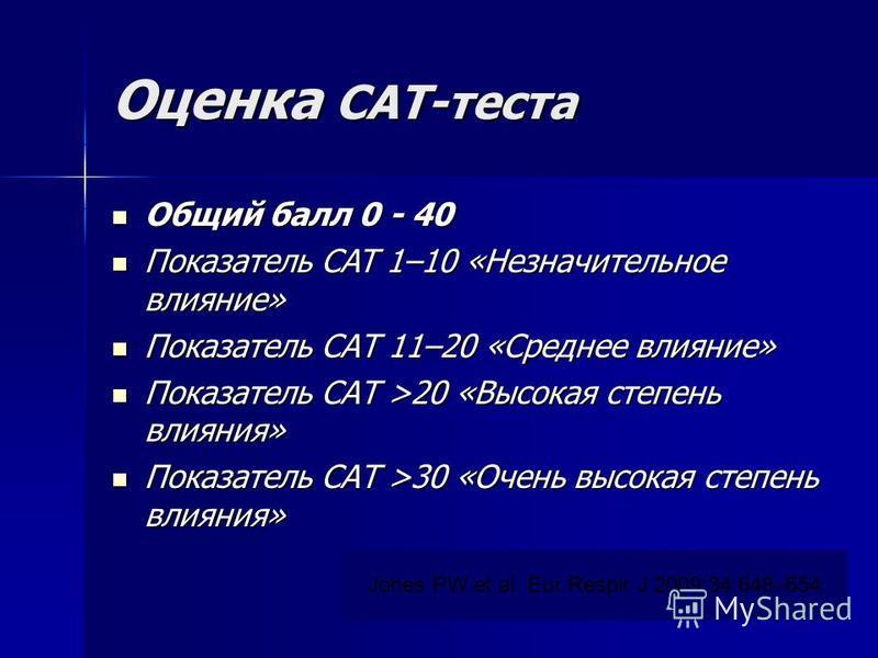 Оценка CAT-теста Общий балл 0 - 40 Общий балл 0 - 40 Показатель CAT 1–10 «Незначительное влияние» Показатель CAT 1–10 «Незначительное влияние» Показатель САТ 11–20 «Среднее влияние» Показатель САТ 11–20 «Среднее влияние» Показатель САТ >20 «Высокая с